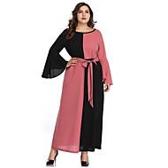 女性用 シース ドレス - リボン, カラーブロック マキシ Vネック / セクシー