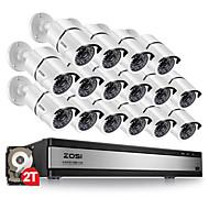 billige DVR-Sett-16 Kanal 1080P (1920*1080) 16 pcs 1080P Kule 30 m 2TB