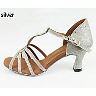 billige Kustomiserte dansesko-Dame Sko til latindans Sateng Sandaler / Høye hæler Kubansk hæl Kan spesialtilpasses Dansesko Sølv