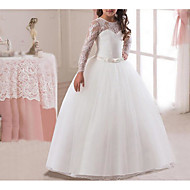 cheap -A-Line Floor Length Flower Girl Dress - Polyester / Polyester / Cotton Long Sleeve Jewel Neck with Embroidery / Lace / Trim by LAN TING Express