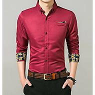 남성용 컬러 블럭 셔츠 네이비 블루 L / 긴 소매