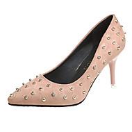 baratos Sapatos Femininos-Mulheres Couro Ecológico Primavera Casual Saltos Salto Agulha Dedo Apontado Tachas Preto / Vermelho / Amêndoa