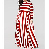 Pentru femei Mărime Plus Size Teacă Rochie - Imprimeu, Dungi Stil Nautic Talie Înaltă Maxi / Sexy