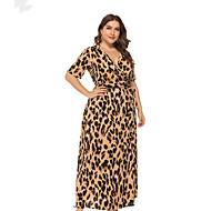 Žene Veći konfekcijski brojevi Osnovni Korice Haljina Leopard Duboki V Maxi Visoki struk / Sexy