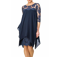 Women's Plus Size Going out Slim Sheath Chiffon Dress - Solid Colored Lace Spring Navy Blue Wine XXXL XXXXL XXXXXL
