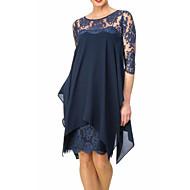 cheap -Women's Plus Size Party Birthday Basic Slim Sheath Chiffon Dress - Solid Colored Lace Spring Navy Blue Wine XXXL XXXXL XXXXXL