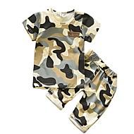 Dziecko Dla chłopców Podstawowy Codzienny Nadruk Krótki rękaw Regularny Regularny Bawełna Komplet odzieży Zieleń wojskowa