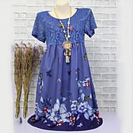 Femme Chic de Rue Au dessus du genou Patineuse Robe - Dentelle Imprimé, Fleur Taille haute Printemps Eté Bleu clair Vert Véronèse Kaki XXXL XXXXL XXXXXL Manches Courtes