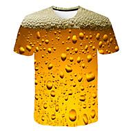 זול -צווארון עגול בסיסי / סגנון רחוב טישרט - בגדי ריקוד גברים דפוס צהוב XXXL / שרוולים קצרים