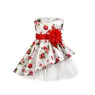 幼児 女の子 かわいいスタイル / ストリートファッション 日常 / お出かけ フラワー レースアップ ノースリーブ 膝上 コットン / スパンデックス ドレス ホワイト
