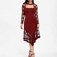 Жен. Большие размеры Для вечеринок Классический Тонкие Оболочка Платье - Однотонный, Кружева Средней длины