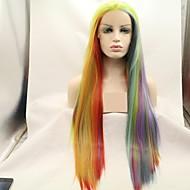 Synthetische Lace Front Perücken Kinky Glatt / Natürlich gerade Ombre Stufenhaarschnitt Regenbogen 130% Human Hair Dichte Synthetische Haare 24 Zoll Damen Damen / Gefärbte Haarspitzen (Ombré Hair)