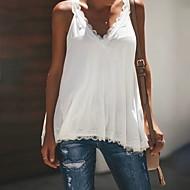Mulheres Blusa Renda, Sólido Decote V Rosa XXXL / Rendas