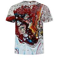 Hombre Estampado - Algodón Camiseta, Escote Redondo Bloques / 3D Arco Iris XL