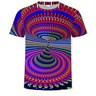 זול -קולור בלוק / 3D צווארון עגול בסיסי / מוּגזָם טישרט - בגדי ריקוד גברים דפוס קשת XXXXL / שרוולים קצרים