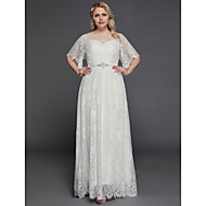 cheap -Plus Size A-Line V Neck / Jewel Neck Floor Length Lace / Tulle Made-To-Measure Wedding Dresses with Beading / Lace Insert by LAN TING BRIDE® / Petal Sleeve / Vintage Inspired
