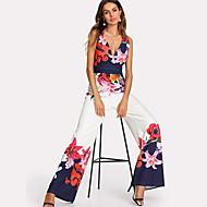Women's Floral Daily Elegant Deep V White Wide Leg Jumpsuit, Floral M L XL