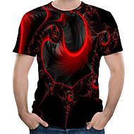 זול -3D צווארון עגול טישרט - בגדי ריקוד גברים אודם XL