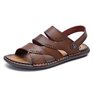 Bărbați Pantofi de confort PU Vară Clasic / Casual Sandale Plimbare Respirabil Galben / Maro Închis / Kaki