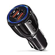Carregador de carro rápido qc 3.0 adaptador 9 v 3.1a dupla porta usb luz azul compatível com ios e android