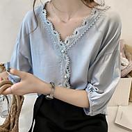 Damen Solide Übergrössen Hemd, V-Ausschnitt Lose Weiß XXL