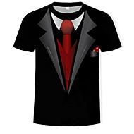 3D צווארון עגול כותנה, טישרט - בגדי ריקוד גברים דפוס שחור XL