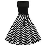 Dámské Vintage Elegantní Swing Šaty - Geometrický Délka ke kolenům