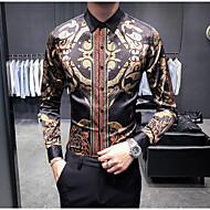 男性用 プラスサイズ シャツ レギュラーカラー スリム 幾何学模様