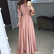 cheap -Women's Elegant Maxi Swing Dress - Solid Colored Fashion Button Shirt Collar Spring Black Red Pink XXXL XXXXL XXXXXL