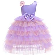 Kinder / Baby Mädchen Aktiv / Süß Schachbrett / Patchwork Schleife / Mehrlagig Ärmellos Maxi Baumwolle / Polyester Kleid Purpur