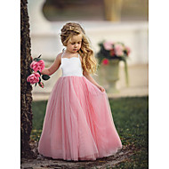 رخيصةأون -فستان طويل للأرض بدون كم لون سادة أساسي للفتيات أطفال