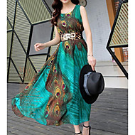 فستان نسائي A line شيفون متموج أساسي بوهو أنيق زهري طويل للأرض هندسي / شاطئ