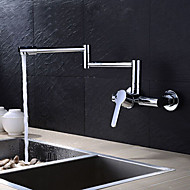 ברז מטבח - שני חורים כרום סיר מילוי הקיר רכוב עכשווי / פליז / לטפל יחיד שני חורים