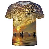 Tee-shirt Homme, Bloc de Couleur / 3D Imprimé Arc-en-ciel XL