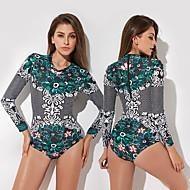 Kadın's Mayo Uv güneş koruma Hızlı Kuruma Giyilebilir Elastane Terylene Uzun Kollu Mayolar Sahil Giyimi Mayolar Bodysuit Kırk Yama Arka Fermuar Yüzme Şnorkelcilik Su Sporları / Yüksek Elastikiyet