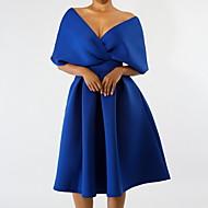 저렴한 -여성용 슬림 셔츠 드레스 주름장식 무릎길이 V 넥