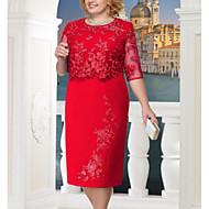 cheap -Women's Plus Size Party Daily Elegant Sheath Dress - Solid Colored Lace Summer Blue Red Navy Blue XXXL XXXXL XXXXXL