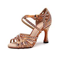 povoljno -Žene Plesne cipele Svila Cipele za latino plesove Crystal / Rhinestone Štikle Tanka visoka peta Moguće personalizirati Crn / Braon / Seksi blagdanski kostimi