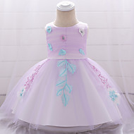 Baby Mädchen Aktiv / Grundlegend Solide / Blumen Schleife / Bestickt Ärmellos Knielang Baumwolle / Polyester Kleid Rosa