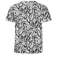 สำหรับผู้ชาย ขนาดพิเศษ เสื้อเชิร์ต ฝ้าย ลายพิมพ์ คอกลม 3D ขาว XXXXL