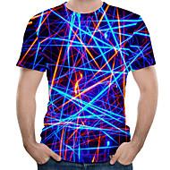 זול -3D צווארון עגול מידות גדולות כותנה, טישרט - בגדי ריקוד גברים דפוס כחול ים XXXXL