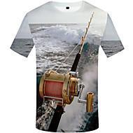 สำหรับผู้ชาย ขนาดพิเศษ เสื้อเชิร์ต ลายพิมพ์ คอกลม 3D สายรุ้ง XL