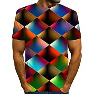 povoljno -Veličina EU / SAD Majica s rukavima Muškarci - Ulični šik / pretjeran Dnevni Nosite / Klub Color block / 3D / Grafika Okrugli izrez Print Duga / Kratkih rukava
