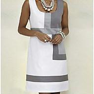 Women's Basic A Line Dress - Color Block Strap White L XL XXL