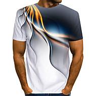 halpa -Miesten Pyöreä kaula-aukko Painettu Color Block / 3D / Kuvitettu Katutyyli / Liioiteltu Klubi EU / US-koko - T-paita Valkoinen / Lyhythihainen