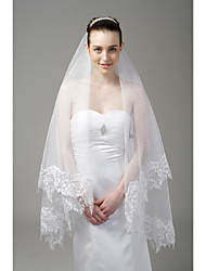 Wedding Veil One-tier Fingertip Veils Lace Applique Edge 66.93 in (170cm) Tulle WhiteA-line, Ball Gown, Princess, Sheath/ Column,
