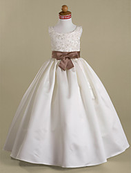 cheap -Ball Gown Floor Length Flower Girl Dress - Satin Sleeveless Scoop Neck with Beading by LAN TING BRIDE®