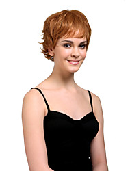 저렴한 -Capless Short High Quality Synthetic Natural Look Unisex Style Golden Brown Curly Hair Wig