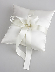 cheap -Wedding Ring Pillow In White Satin With Pearl Wedding Ceremony