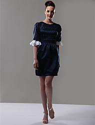 abordables -Fourreau / Colonne Bijoux Courte / Mini Organza Satin Soirée Cocktail Retour Robe avec Billes Volants par TS Couture®